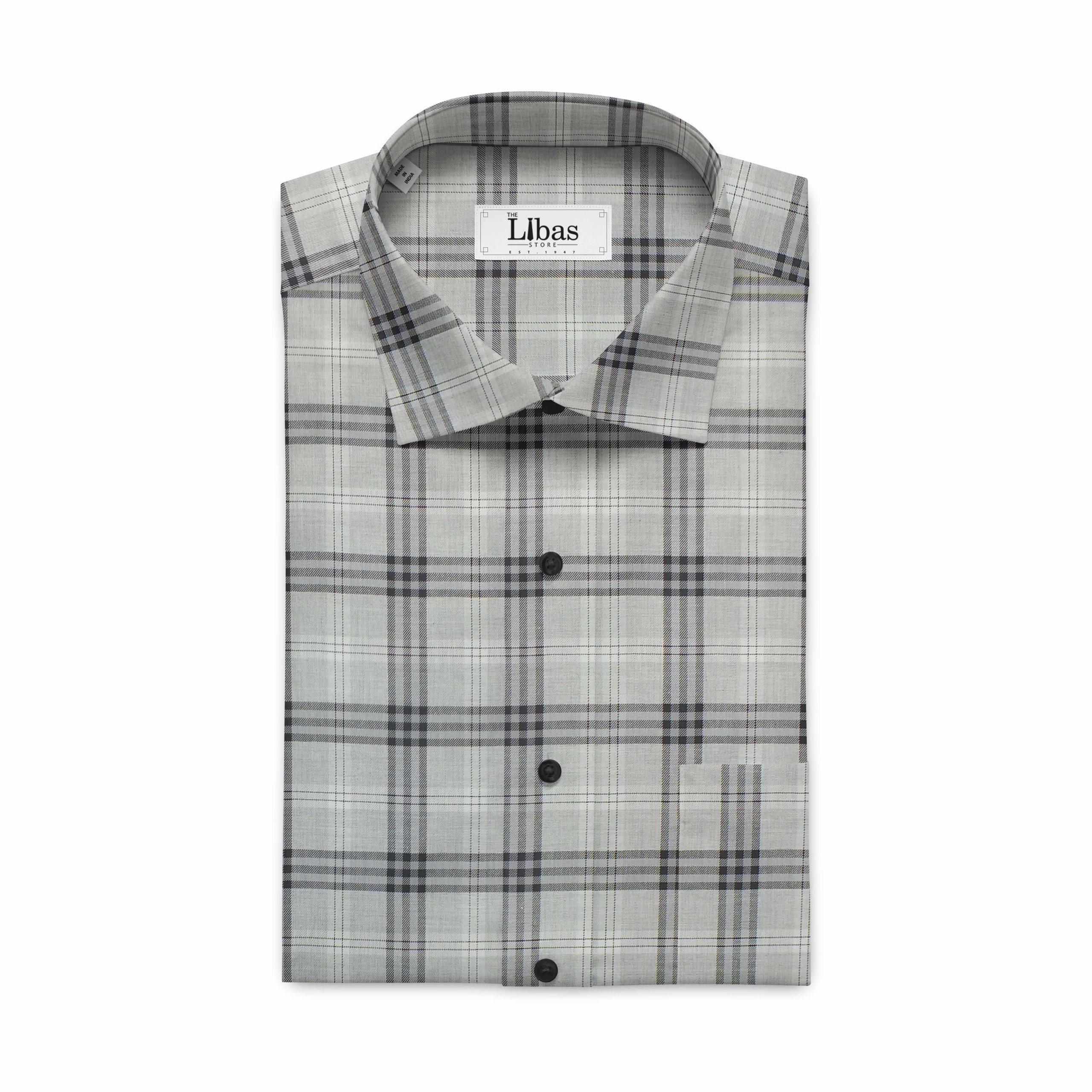 Soktas Men's Light Grey& Black Giza Cotton Burberry Check Twill Weave Shirt Fabric