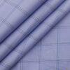 Monza Men's Light Blue 100% Superfine Cotton Broad Checks Shirt Fabric (1.60 M)