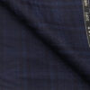Raymond Dark Blue Polyester Viscose Royal Blue Broad Self Checks Unstitched Suiting Fabric - 3.75 Meter