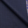 Raymond Royal Blue Polyester Viscose Self Checks Shiny Unstitched Suiting Fabric - 3.75 Meter