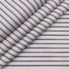 Nemesis Men's 100% Giza Cotton Red & Blue Striped Unstitched Shirt Fabric (White
