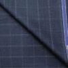 Raymond Men's Wool Checks Super 70's Unstitched Suiting Fabric (Dark Blue)