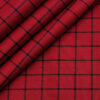 Cadini Men's Cotton Checks 2 Meter Unstitched Shirting Fabric (Red)