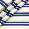 Mafatlal Men's Giza Cotton Striped 2 Meter Unstitched Shirting Fabric (White & Royal Blue)