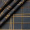 Soktas Men's Giza Cotton Checks 2 Meter Unstitched Shirting Fabric (Dark Navy Blue)