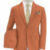Fashion Flair Men's Terry Rayon Striped 3.75 Meter Unstitched Suiting Fabric (Orange)
