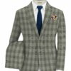 Vimal Men's Polyester Viscose Checks 3.75 Meter Unstitched Suiting Fabric (Light Grey)